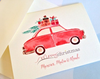 Personalized Christmas Cards, Custom Card, Set of 10