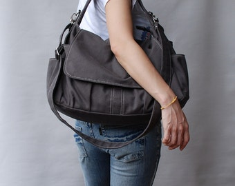 Mother Day SALE - 25% - Messenger Bag / Pico Grey, Diaper Bag, School Bag, Shoulder Bag, crossbody bag, Handbag, Gift for Her, Women Bag