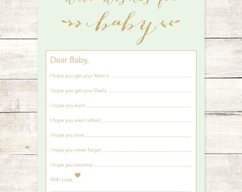 wishes for baby shower printable DIY mint green gold glitter baby gender neutral well wishes for baby shower games - INSTANT DOWNLOAD