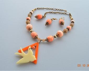Spun Cotton Ball Bead Necklace,Earrings Set ,Triage,Lucite Dove Dangle Pendent,Puff Plastic,Gold Tone,OOAK Handmade by jul ann