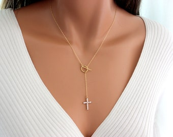 Crystal Cross Necklace Women Rosary Y Style Gold Filled Jewelry Womens Custom Lariat Necklaces Rosary Inspired High Quality Gift for her