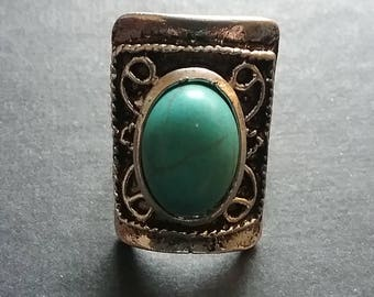 Turquoise shield ring, blue ring, summer statement ring