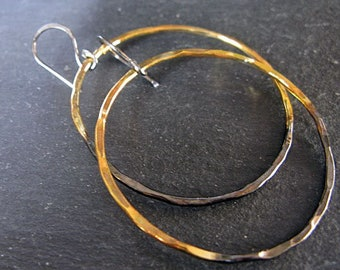 Black Hoop Earrings Hammered Silver Earrings Oxidized Black Hoops Gold Edges Black Gold Earrings Artisan Metalsmith Boho Earrings Large Hoop