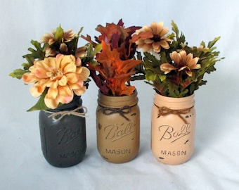 Rustic vase, table decoration, party centerpice, distressed jars, mason jars, flower vase, distressed mason, candle holder, party decoration