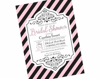 Striped Bridal or Baby Luncheon Tea Shower Rehearsal Dinner Invitation