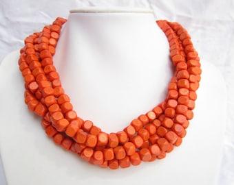 Infinity necklace,Multi strand Necklace,chunky necklace,beaded necklace,orange necklace,bridesmaid Necklace,Wedding gift,choker necklace