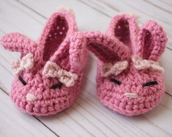 Pink Crocheted Bunny Slippers size 4/5- Easter Shoes
