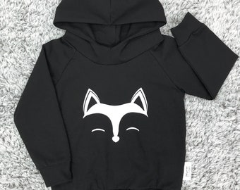 Hooded sweater for baby and child, Cotton/spandex black with applied vinyl Fox
