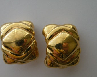 GIVENCHY Paris New York gold plated  clip - on earrings.