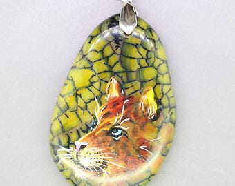 Hand Painted Lioness Cat on Leopard Agate Gemstone Pendant