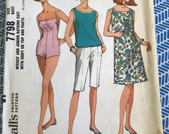 1960s Vintage Bathing Suit McCalls 7798 Sewing Pattern