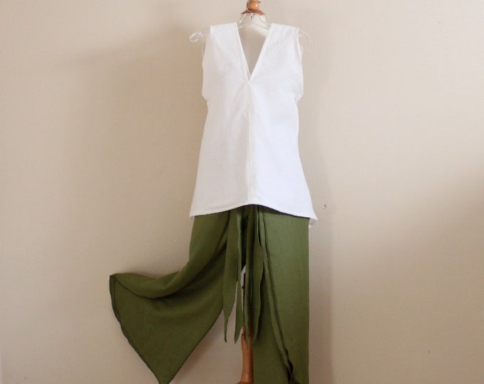 custom linen outfit sparrow top and wrap around pants  handmade to measure / linen sleeveless top / linen wrap pants / custom size and color