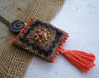 Sachet Tassel Necklace, Boho Necklace Long Layered, Orange Black Ethnic Necklace, Indie Fabric Jewelry, Art To Wear Textile Tribal Jewelry
