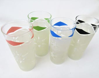 Vintage Federal Glass | Glass Tumblers | Tom Collins Glasses | Frosted Glassware | Tall Cocktail Glasses | Set 4