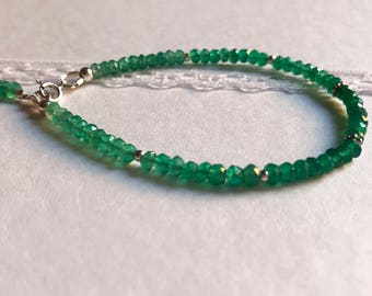 Natural Green Onyx Bracelet . Sterling Silver . Ombre . Shaded . Faceted Rondelle