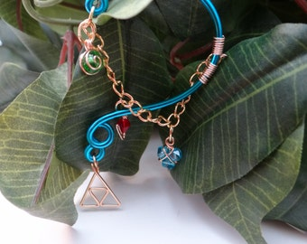 The L.O.Z.® Wise Ear Bend with Hanging Spiritual Stones and Triforce in Blue