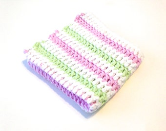 Pistache, Pink, And White Narrow Striped Crocheted Square Dish Cloth