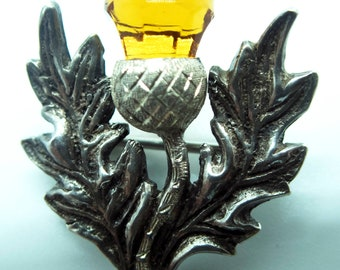 Scottish Silver Amber Glass Thistle Brooch
