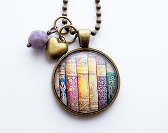 Book Necklace - Gift For Teacher - Librarian Pendant - Bibliophile Jewelry - Library Book Necklace - Literary Jewelry - Writer Author Gift