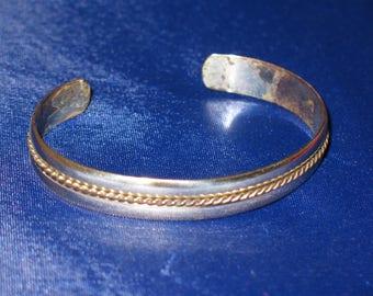 Vintage Sterling Silver Rope Design Expandable Cuff Bracelet 925
