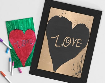 Custom Foiled Art Print - Created from your child's artwork