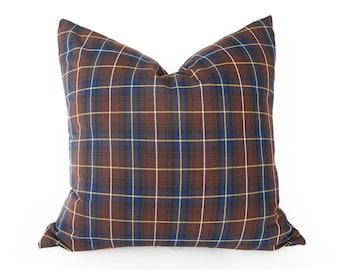 Brown Blue Pillow Covers, Brown Blue Plaid  Pillows, Mens Decorative Pillow, Cabin Pillow, Plaid Cushion Cover, Menswear Style Decor, 20x20