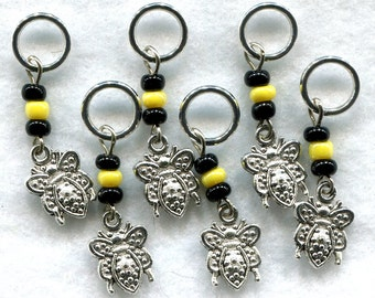 Bumble Bee Knitting Stitch Markers PhatFiber January Theme Phativersary Set of 6 /SM69A