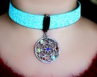 Submissive BDSM collar boho chic necklace hippie choker trippy jewelry psychedelic trance acid wear pendant festival neon psilocybe vegan