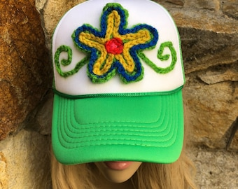 Boho crochet flower womens trucker hat, green trucker hat, unique hat, ooak hat, flower patch hat, womens baseball hat, trucker hat