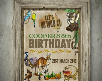 Australian Animals Party Sign Poster - INSTANT Download - Editable & Printable Birthday Party Decorations by Sassaby Parties