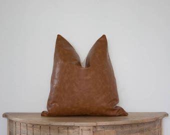 18X18 Faux Leather Pillow Cover