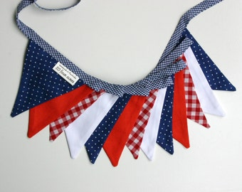 Mini Fabric Bunting - Nautical Theme Bunting - Photo Prop, Party Decor, Fabric Garland, Nursery Decor - Red White and Blue