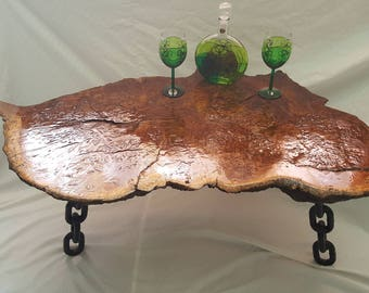 A Unique Stunning Burr Solid Oak Live Edge Coffee Table