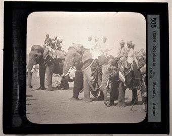 Keystone magic lantern Glass Slide photo men riding elephants India 505 antique photograph