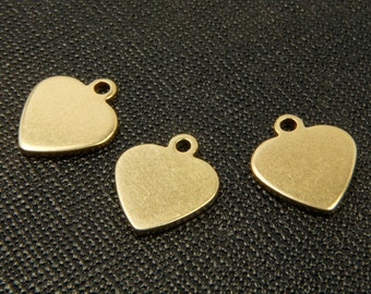 RAW BRASS heart charm, RBC-A4, 50 pcs, 13x15mm, Stamping blanks heart pendant, For plating