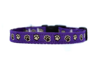 5/8 or 3/4 Inch Wide Dog Collar with Adjustable Buckle or Martingale in Puppy Paws Purple