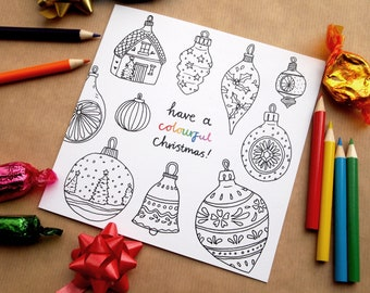 Have a Colourful Christmas Colouring in Cards | Blank Inside | Choose Quantity
