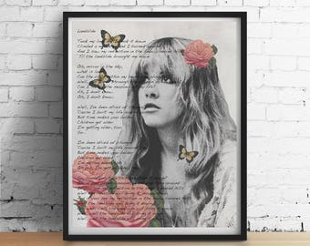 Stevie Nicks Print, LANDSLIDE Lyrics Gypsy Boho Butterflies Wall Art Dorm Decor, Stevie Nicks Fleetwood Mac Wedding Gifts Art Poster Giclee