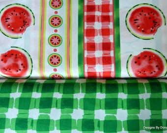 2 Piece 1 Yard Bundle Quilt Fabric, Mad for Melon, Watermelon Stripes, Green Plaid, Maria Kalinowski, Kanvas, Sewing-Quilting-Craft Supplies