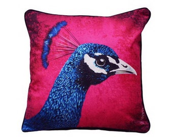 Cushion cover for throw pillow of the Peacock in 16x16 inch 40x40cm