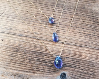 Large Amethyst Gemstone Drop Gold Filled Necklace Gift February Birthstone Wire Wrapped One of A Kind Amethyst Jewelry Rana Salame
