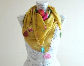Summer scarf square cotton scarf cotton flower scarf crochet pareo wrap beach pareo fashion scarf summer scarfs crochet edge greenery scarf