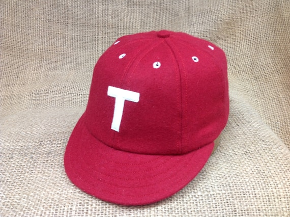 """Red wool flannel 8 panel cap, 1910 2"""" visor,  Fitted to any size, any letter logo, cotton sweatband"""