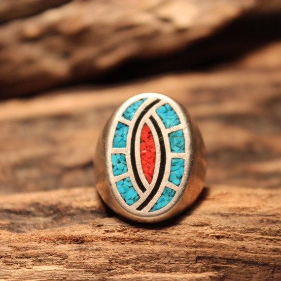 Mens Silver Ring Navajo Sterling Silver Native American Heavy 18 grams Size 11 Mens large Silver Navajo Turquoise Coral Inlay Ring Mens Ring