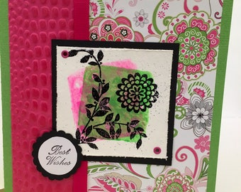 Bright Pink Green Floral Best Wishes Handmade Birthday Card