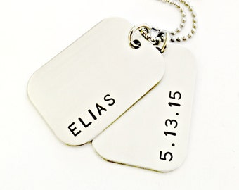 Personalized Dog Tags -  Child Name and Date of Birth Dog Tag Necklace - Custom Boy Dad Daddy Father Necklace - New Dad Gift - Baby Name DOB