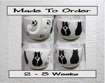 Made To Order Black & White And Black Cats On Yarn Bowl Earthenware Clay by Grace M Smith