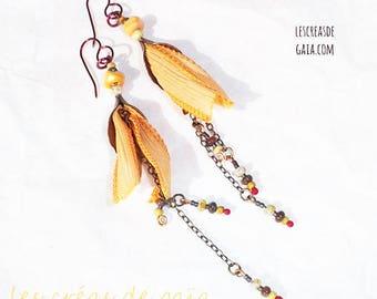 Mama • brass, silk and glass bead jewelry • dangle earrings ethnic mood