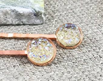 Champagne Druzy Bobby Pins - Druzy Jewelry - Hair Accessories - Druzy - Champagne - Hair Pins - Bobby Pins - Hair Clip - Barrettes - Gift -