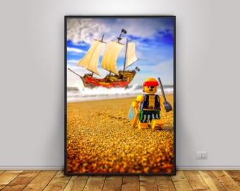 Pirate Lego instant download | kids room decor | Lego art | children's room | boy room | girl's room | wall art | home decor | present